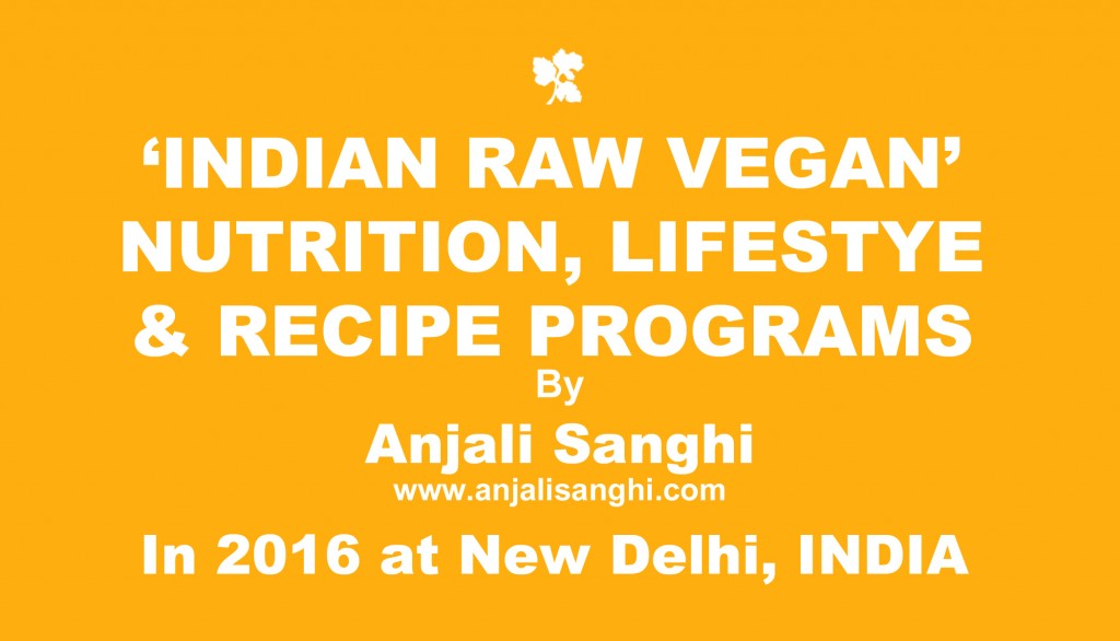 2016 Indian Raw Vegan Nutrition, Lifestyle, Recipe Programs in New Delhi